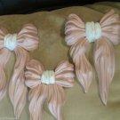 Vintage LOT 3 Homco 7061 Pink Resin Bows Wall Hangings Plaques Burlwood