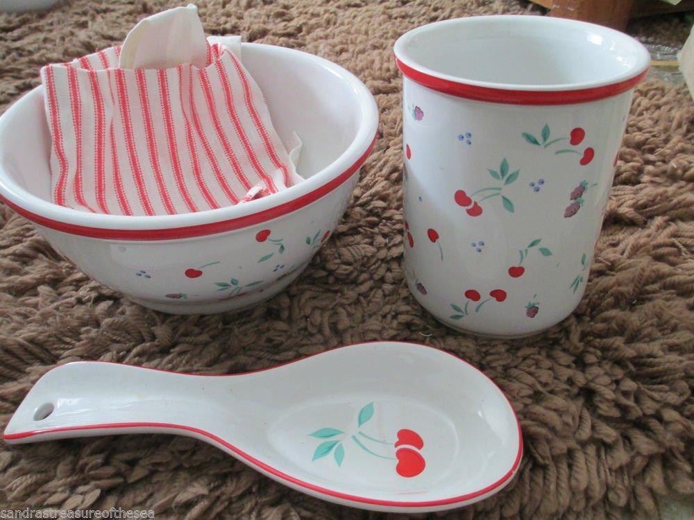 Vintage Rare Japan  Berries Jubilee Design Ceramic Utensil Holder Valentines