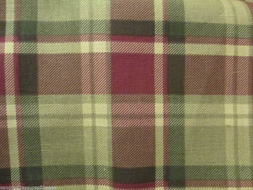 Interior Fabric Design 4 Yds Original Plaid Greens Reds !994 AmGuard Plus Free