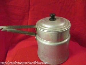 Vintage Mirro Double Aluminum Boiler Pan 1 1/2 qt Kitchenware Camping 371