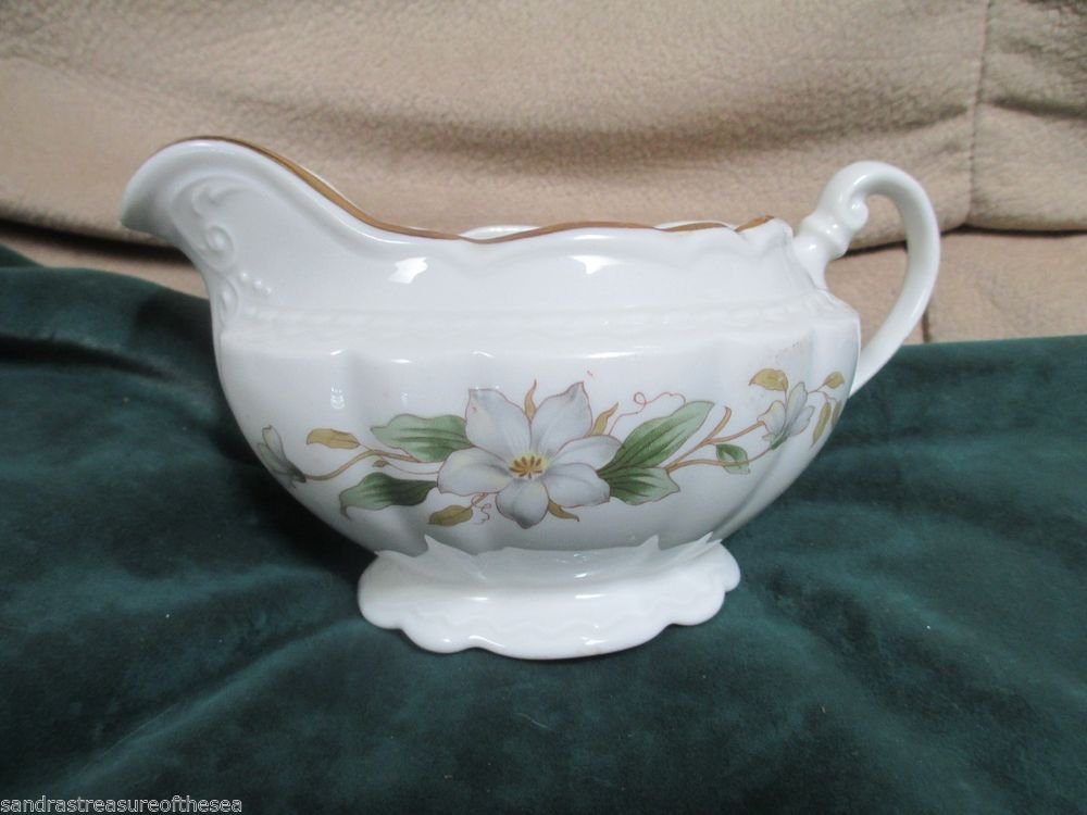 Vintage Embassy Vitrified China USA Dogwood Design Gold Trim Scalloped Creamer