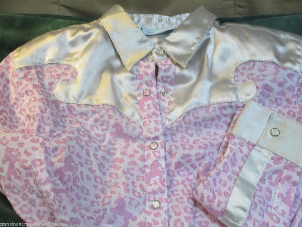 Fancy Girls Wrangler Satin Trim Bling Pink Western Print Show Shirt XL Size 12
