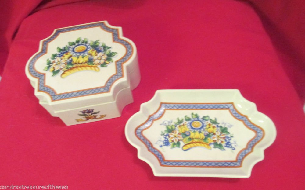 Vintage Elizabeth Arden Roma Al Fresco Porcelain Vanity Dresser Trinket Box Tray