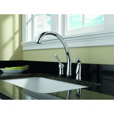 Delta 4380T-DST Pilar Single Handle Kitchen Faucet with Spray, Touch2O and Diamond Seal Technology