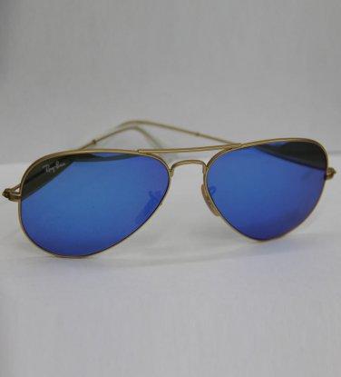 Ray Ban Sunglasses 3025 112/17 Golden Blue Mirrored Aviators 100% New & Original