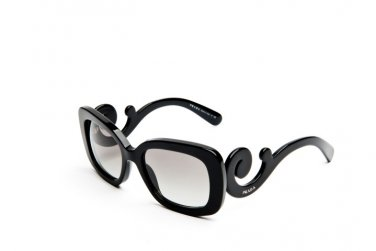 Prada Sunglasses PR 27OS 1AB3M1 Square with Ornate Arms, Black 100% Original