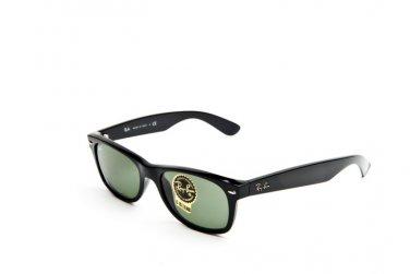 Ray Ban Sunglasses 2132 901 52/18 Wayfarer Black / Green Lenses 100% Original