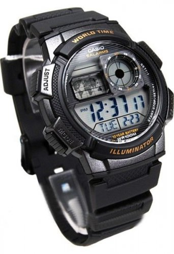 Casio Watch AE1000W 1A World Time Alarm Date Water Resistance New 100% Original