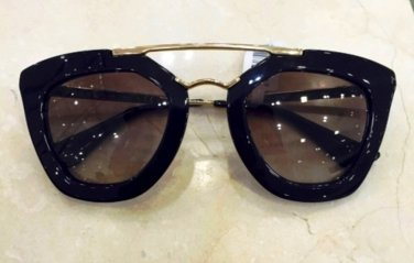 Prada SPR09QS 1AB0A7 CINEMA  Black / Gold Women's CINEMA Sunglasses-100% ORIGINAL NIB*