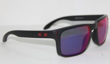 Oakley Sunglasses HOLBROOK 9102-36 Black Red Iridium MIRRORED OO9102-36 NEW