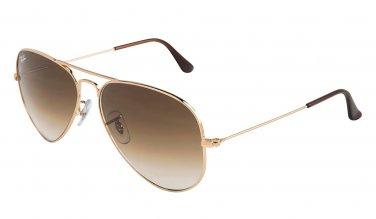 Ray-Ban AVIATOR Sunglasses RB3025 Gold Metal 001/51 58mm Brown Gradient Lens NEW 100% ORIGINAL