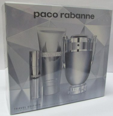 Paco Rabanne INVICTUS EDT 100ml 3.4oz + Shower Gel 100ml + Travel Spray 10ml SET 100% ORIGINAL