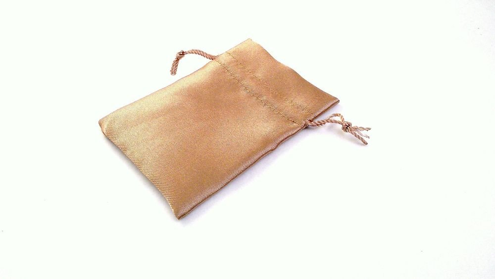 GOLDEN BROWN Satin Fabric Pouch Crystal Jewellery Gift Bag BUY 2 GET 1 FREE