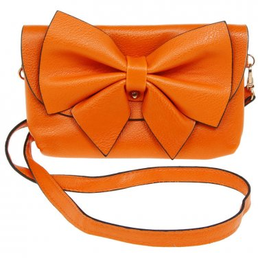 Ladies Equilibrium Orange BOW BAG Evening Clutch Shoulder Bag Detatchable Strap