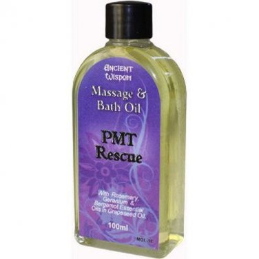 100ml Bottle PMT RESCUE Massage Oil Aromatherapy Rosemary Bergamot Geranium Mix
