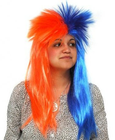 Blue & Orange SPIKY WIG Fancy Dress Party Hen Stag Do Hair Costume
