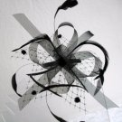 FASCINATOR HAIR COMB Mesh & Feather Hair Accessory Clip Corsage Pin BLACK CREAM