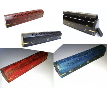 "Hand Carved Wood 12"" INCENSE Burner Ash Box Smoke Box Sun Moon Stars Brass Inlay"