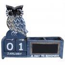 Shabby Chic OWL Wooden Calendar Pen Pot Pen Holder Desk Tidy BLUE