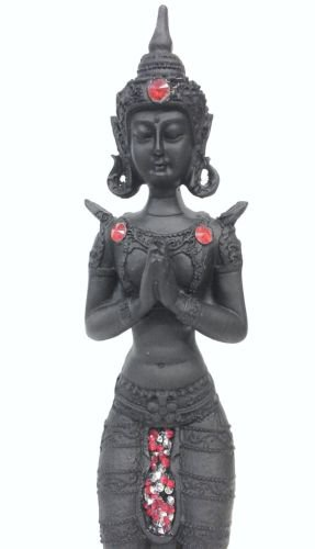 "THAI BUDDHA Thai Goddess Praying Figurine Black, Red Jewel Detail 27.5cm (11"")"