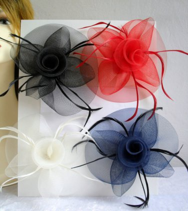 FASCINATOR HAIR CLIP Large Mesh & Feather Hair Accessory Clip Corsage Pin