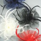 FASCINATOR HAIR CLIP Mesh Swirl & Feather Hair Accessory Clip Corsage Pin