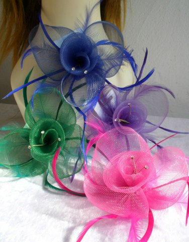 FASCINATOR HAIR CLIP CORSAGE Net Feather & Crystal Hair Clip Corsage Pin