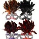 FANCY DRESS VENETIAN MASK Glitter Filigree Eye Mask with Top Feathers Costume