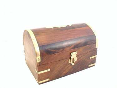 JEWELLERY TRINKET BOX Hand Carved Wood Trinket Momento Make-Up Bits Box