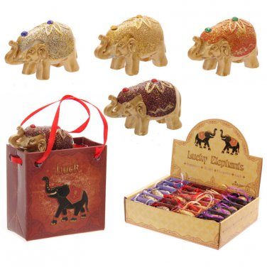 ELEPHANT In A Bag Mini Metallic Glitter Lucky Elephant Figurine in a Bag