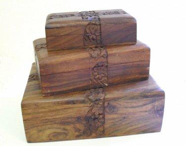 JEWELLERY TRINKET TAROT BOX Hand Carved Wood Floral Cross Box Small Medium Large