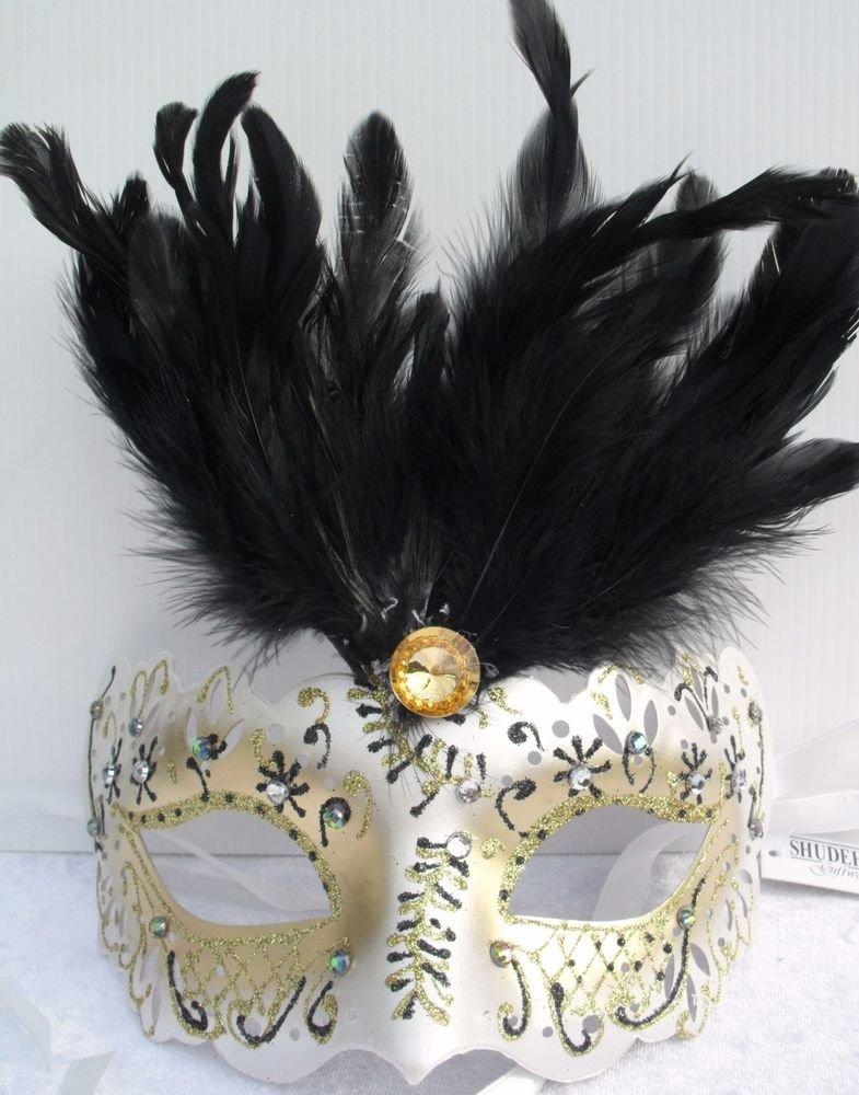FANCY DRESS VENETIAN MASK Jewel Rialto Eye Mask with Black Top Feathers Costume