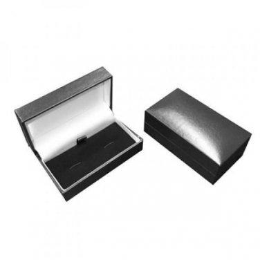Leatherette Hinged Cufflinks Box (80x43x33mm) Black Blue