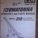 GENUINE OWATONNA E210 MODEL 210 OPERATOR'S & PARTS MANUAL 762W0