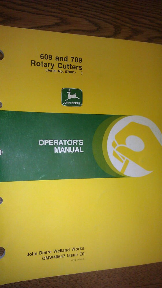 JOHN DEERE 609 AND 709 ROTARY CUTTERS OPERATOR'S MANUAL