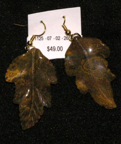 Jasper carved leaves earrings