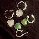 Item no. 00144 Jade or Quartz Heart earrings