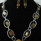 Item No.01459  Agate and Tiger Eye Necklace in Non-Metal Setting