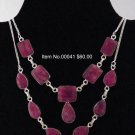 Item No.00040  Natural Ruby Necklace in Sterling Setting