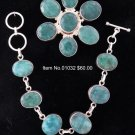 Item No.00073  Natural Emerald Bracelet in Sterling Setting