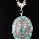 Item No.01093  Tribal Turquoise Necklace in Artisan Metal Setting
