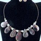 Item No.00765  Botswana Agate Necklace in Artisan Metal Setting