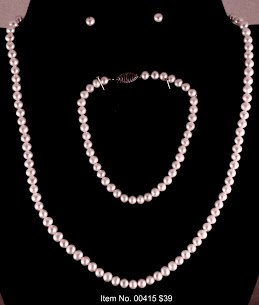 Item No. 00415 Pearl Necklace in Sterling Setting
