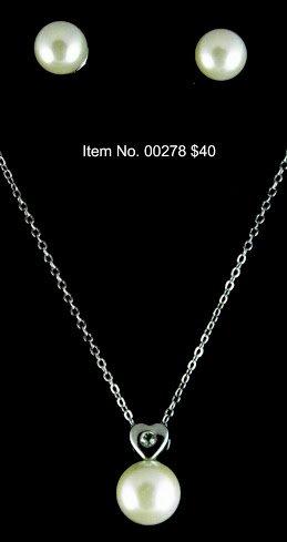 Item No. 00278 Pearl Set, Set in Artisan Metal Setting