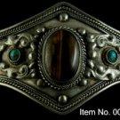 Item No. 00745 Tribal Tiger Eye and Turquoise Bracelet in Artisan Metal Setting