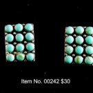 Item No. 00242 Turquoise Earrings in Artisan Metal Setting