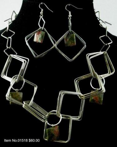 Item No.01518 Jasper Set in Artisan Metal Setting