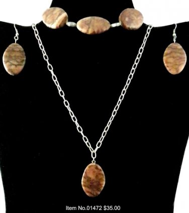 Item No.01472 Jasper Set in Artisan Metal Setting
