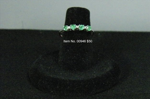 Item No. 00946 Natural Emerald Ring in 10K White Gold Setting