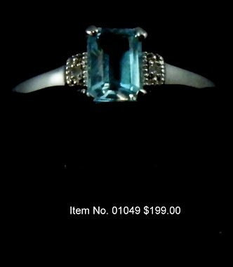 Item No. 01049 Aquamarine Ring: in Sterling Setting